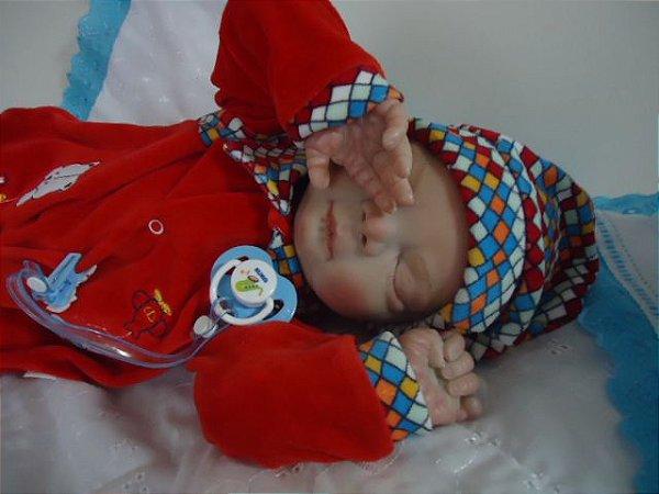 Bebê Reborn Billy com 3,2kg e 58 cm aproximadamente, cabelos pintados