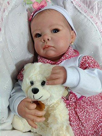 Bebê reborn menina cabelos pintados com 53 cm e 2,3 kg aproximadamente