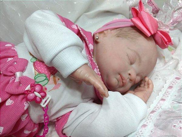 bebê reborn menina, cabelos pintados, corpo de tecido