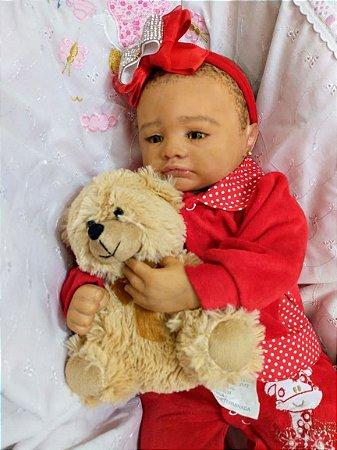 Bebê reborn menina birracial, cabelos afro pintados, molde importado
