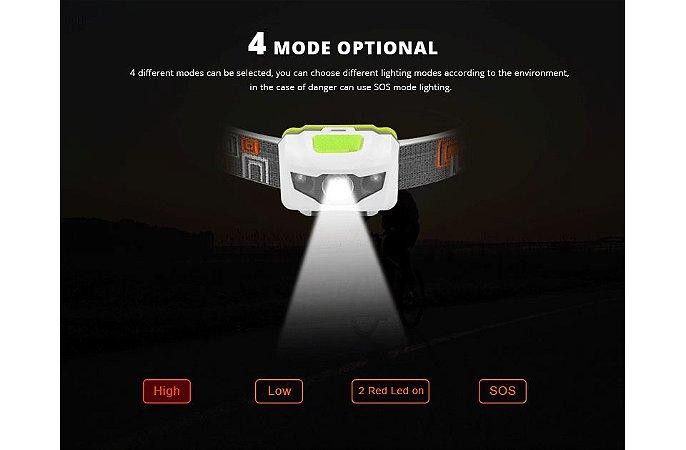 Lanterna LED Tatica de Cabeça Cree 320 Lumen 4 Modos