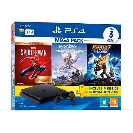 Console PlayStation 4 Slim 1TB + 3 Jogos + 3 Meses PSPlus (Bundle Hits 15) - Sony