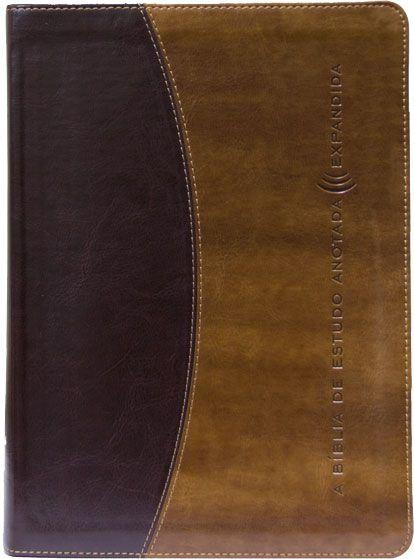 A Bíblia de estudo anotada expandida (Marrom escuro/claro)