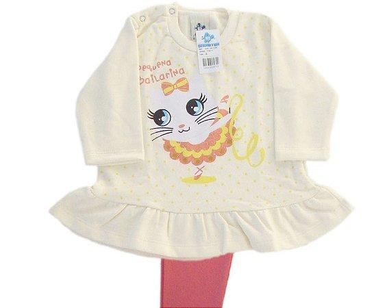 Conjunto Bebê Feminino flanelado com Glitter Pequena Bailarina Andritex