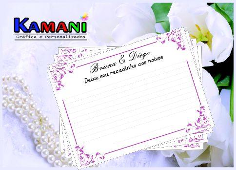 CARD RECADOS - Recadinho dos convidados