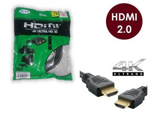 Cabo Hdmi 2.0-19 Pinos Ethernet 3 Metros 4k Ultra Hd 3d