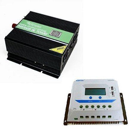 Inversor 1000w-12v-127v Onda Senoidal + Controlador c/ display 45A Epever