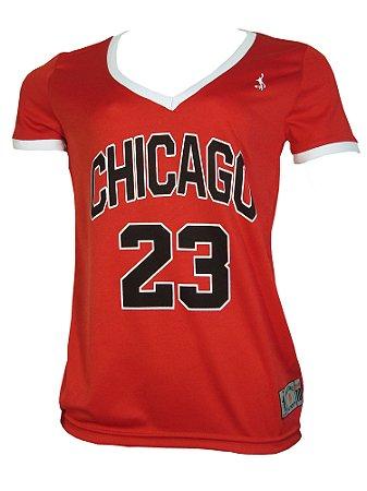 Camiseta Basq Fem Chicago 23 Vermelho