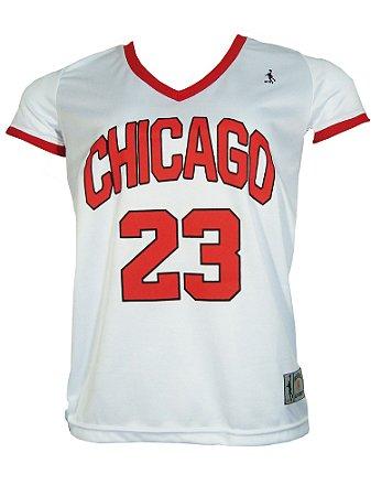 Camiseta Basquete Chicago 23 Feminina Branco