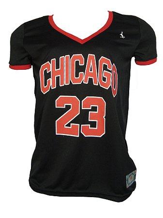 Camiseta Basquete Chicago 23 Feminina Preto