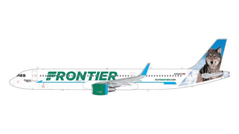 """PRÉ- VENDA Gemini Jets 1:200 Frontier Airlines Airbus A321""""Virginia the Wolf"""""""