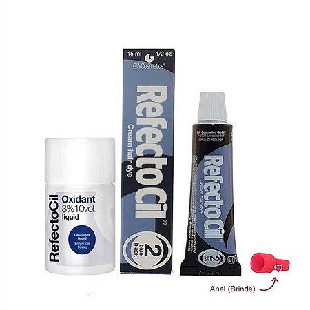 Kit Refectocil Preto Azulado 2.0 + Oxidante 100ml