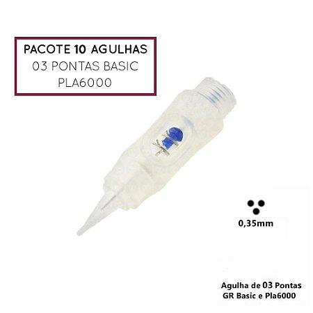 Pacote 10 Agulhas de 03 Pontas Basic ou Pla6000