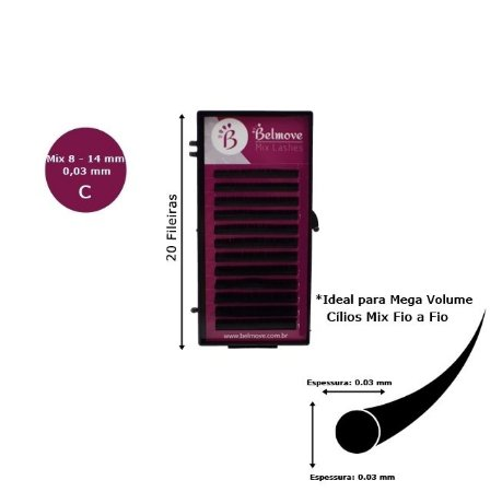 Cílios Mix Mega Volume 20 fileiras C 0,03 - 8 ao 14mm
