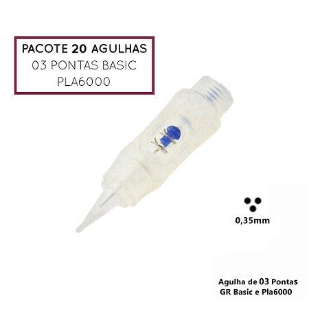 Pacote 20 Agulhas de 03 Pontas Basic ou Pla6000