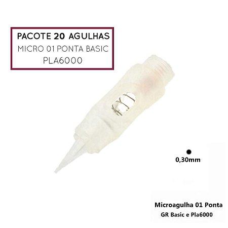 Pacote 20 Agulhas Micro Agulhas Basic ou Pla6000
