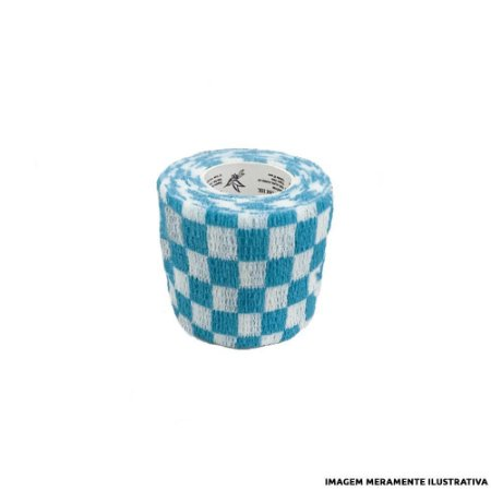 Fita Elástica Antiderrapante Xadrez Azul 5cm x 4,5m