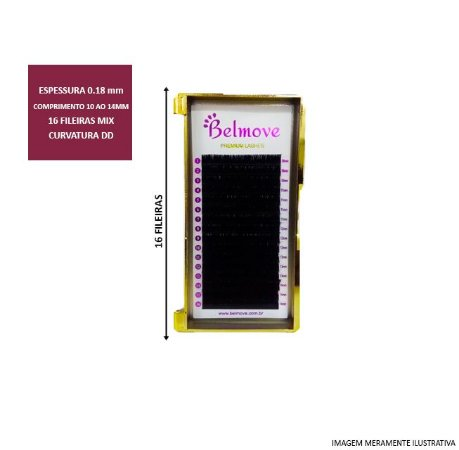 Cílios Mix 10 ao 14mm DD 0.18 16 Fileiras - Belmove