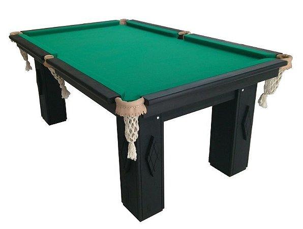 Mesa de bilhar modelo 01Angelin - Cor preta e adornos - 230 x 130 m