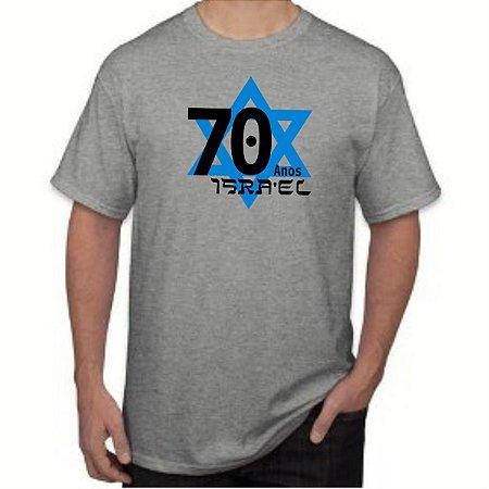 Camisa 70 Anos de Isra El de Malha 100% Algodão Estampada - Ahavat e48e55547dd73