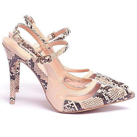 Sapato Scarpin Nude Piton Vinil