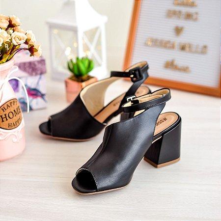 Sandália Jessica Mello Ankle Boot Napa Sintético Preto