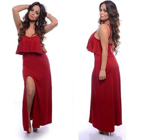 Vestido Longo Babado Vermelho