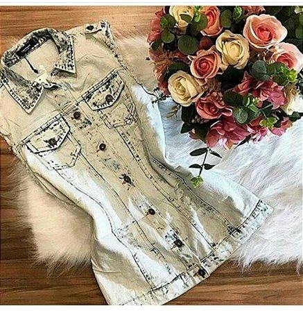 MAXI Colete Jeans Manchado