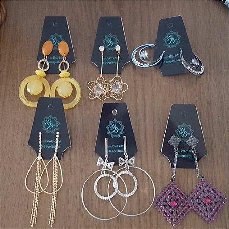 Cartela de Bijuteria Colar e Brinco Personalizado modelo Gravata