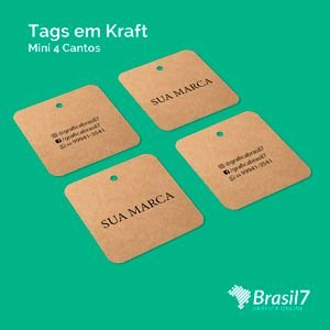 Tag personalizada em papel kraft 4,5x5cm