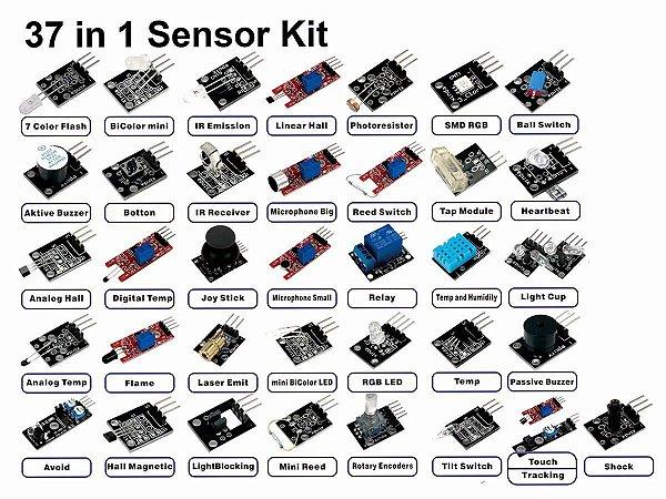 Kit com 37 Módulos Sensores