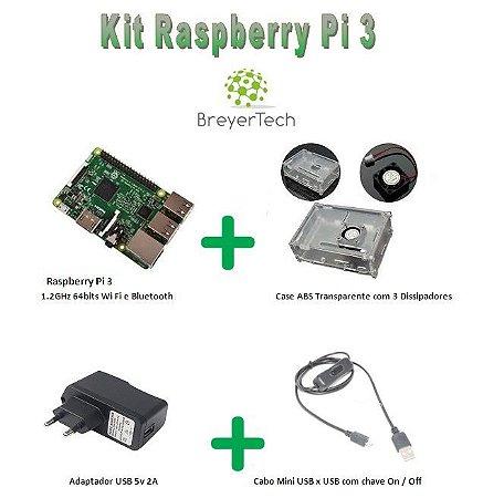 K07 - Raspberry Pi 3 + Case + Cooler + Adaptador + Cabo USB ON/OFF