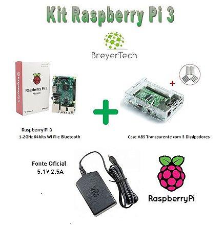 K05 - Raspberry Pi 3 + Case + Dissipadores + Fonte Oficial 5.1V 2.5A