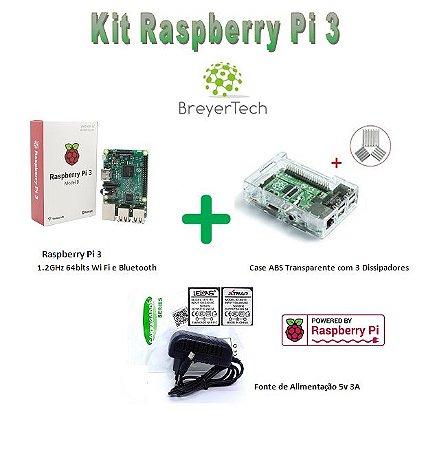 K06 - Raspberry Pi 3 + Case ABS Transparente + Dissipadores + Fonte de 5V 3A