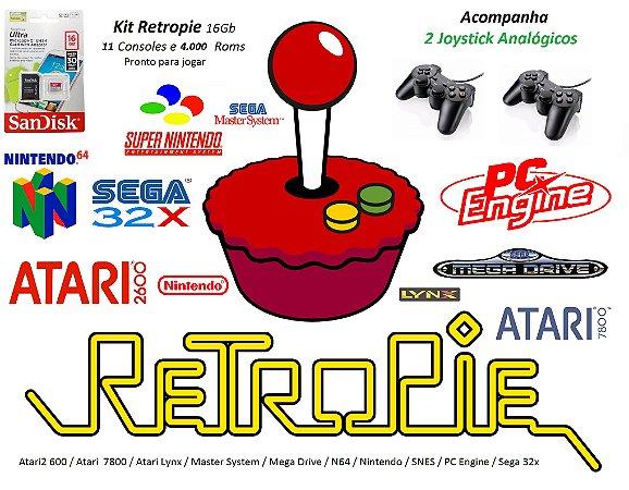 k13 - Retropie Pi 3 com 11 Consoles e 4000 Jogos + 2 Joysticks Play 2 Analógico com Cabo HDMI