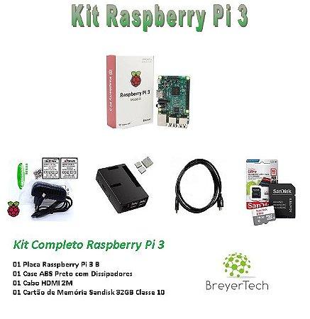 KIT COMPLETO - Raspberry Pi 3 + Cartão 32GB - Case ABS + Dissipadores + Fonte 3A + Cabo HDMI