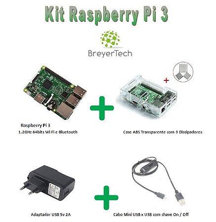 K04 - Raspberry Pi 3 + Case ABS Transparente + Dissipadores + Fonte de 5V 2.5A + Cabo USB ON/OFF