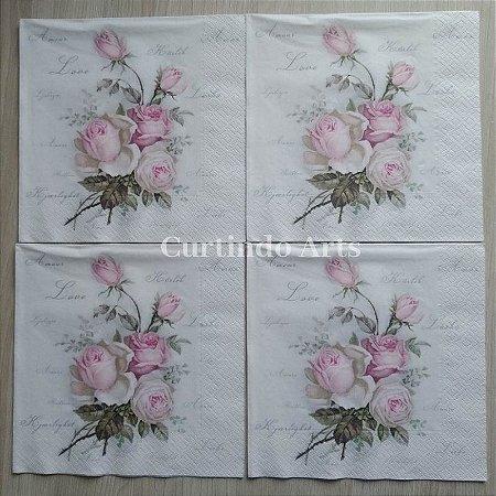 Guardanapo galho com rosas vintage
