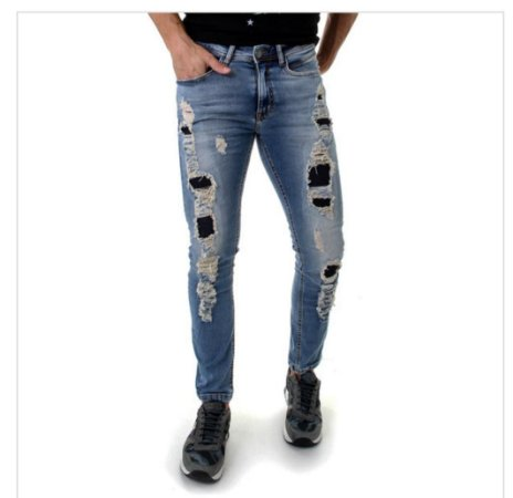 CALÇA JEANS MASCULINA DESTROYED OPERA ROCK