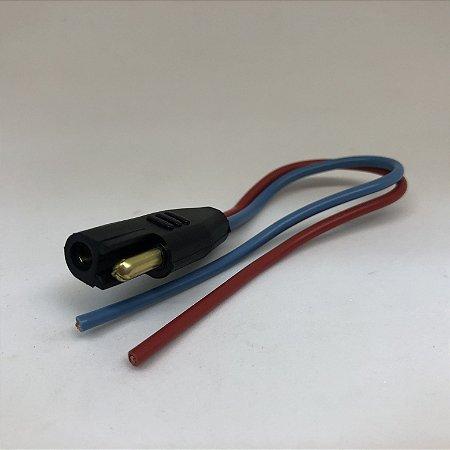 Chicote inst. auto falante/farol de milha - 2,5MM - Fio azul - Plug energia - Bateria (01unid)