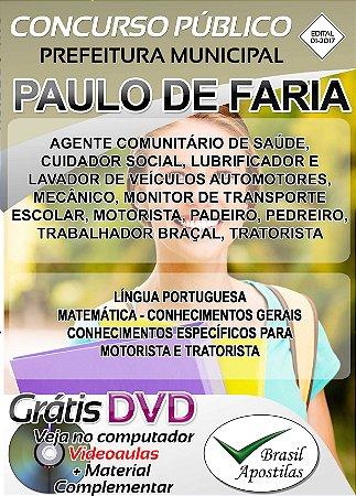 Paulo de Faria - SP - 2017/2018 - Apostilas Para Nível Fundamental, Médio, Técnico e Superior