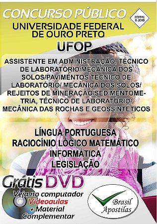 Universidade Federal de Ouro Preto - UFOP -  2018 - Apostila Para Nível Médio e Técnico