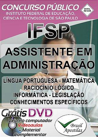 IFSP - SP - 2018 - Apostila Para Assistente em Administração