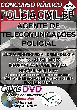 Polícia Civil - SP - 2018 - Apostila Para Agente de Telecomunicações Policial