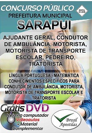 Sarapui - SP - 2018 - Apostilas Para Nível Fundamental, Médio e Superior