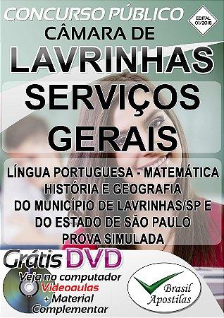 Lavrinhas - SP 2018 Câmara - Apostila para o cargo de Serviços Gerais