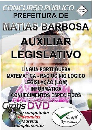 Matias Barbosa - MG - 2018 - Apostila Para Auxiliar Legislativo