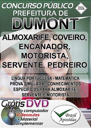 Dumont - SP - 2018 - Apostilas Para Nível Fundamental, Médio e Superior