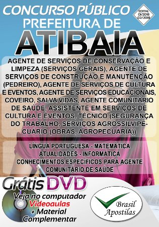 Atibaia - SP - 2018 - Apostilas Para Nível Fundamental, Médio e Superior