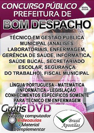 Bom Despacho - MG - 2018 - Apostilas Para Nível Médio, Técnico e Superior